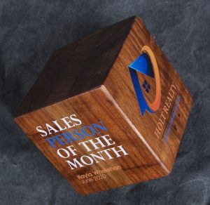Salesperson of the Month corporate award made of a wooden cube