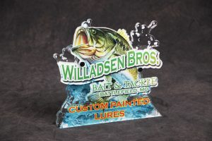 Custom award showing fish jumping out of water